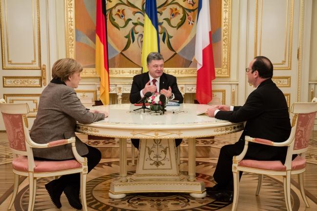Зустріч Петра Порошенка з Ангелою Меркель та Франсуа Олландом в Київі 5 лютого 2015 р.